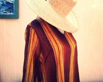 Vintage sun dress-striped sun dress-vintage beach cover-boho brown dress-vintage striped brown dress