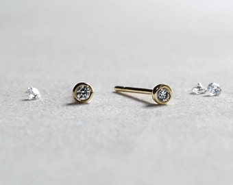 14k Gold Bezel Set Circle Diamond Stud Earrings - 2mm Brilliant Diamond - Gift for Her - Simple Minimalist Everyday Jewelry LITTIONARY