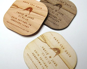 50 - 2 x 2 Birds Kissing Save the Date - Custom Save the Date - Wood Wedding Tags