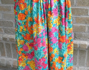 Vintage High Waist Hibiscus Print Maxi Skirt by Woolrich