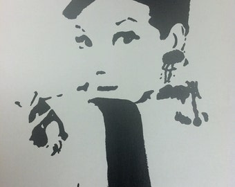 Audrey Hepburn Charcoal Drawing Print from Original Breakfast At Tiffany's Holly Golightly No. 3 Funny Face Sabrina