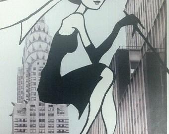 Audrey Hepburn Charcoal Drawing Print from Original Mixed Media No. 1 Breakfast at Tiffany's Holly Golightly Funny Face Sabrina
