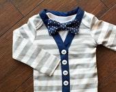 Baby Boy Gray/Cream Striped Cardigan Bodysuit Navy Bow Tie Set 0-24 Months