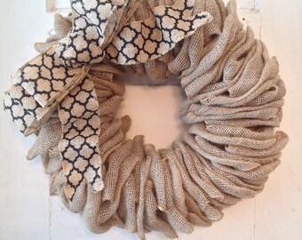 Burlap Wreath-Burlap-Front Door Wreath-Quatrefoil-Burlap Home Decor-Wreath Ribbon-Wreath-Burlap Door Wreath-Door Wreath-Quatrefoil Ribbon