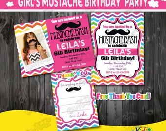 Girl Mustache Party invitation, Mustache Birthday Party, mustache First Birthday,1st Birthday invitation,Mustache party,Girls rainbow party