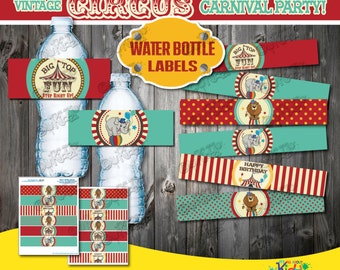 Printable Circus Birthday Party Water Bottle Labels-Non-Personalized Vintage Circus Party decoration label-Carnival Party-First Birthday