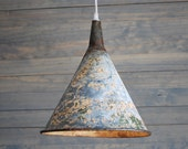 RESERVED for CHRISTINA LEE: Upcycled Extra Large Vintage Galvanized Funnel Pendant Light with Silver Cloth Covered Plug-in Cord