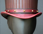 Baron - Leather Circus Steampunk Top Hat in Burgundy