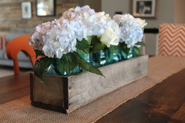 Wood Box Centerpiece Wedding : Rustic wooden planter centerpiece box home decor wood