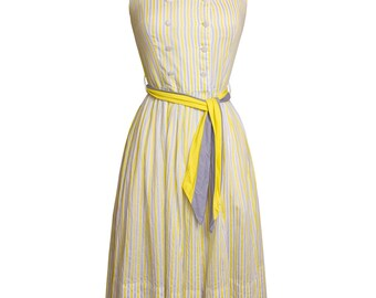CLEARANCE SALE 1950s Vintage Yellow and Gray Striped Cotton Sun Dress, Mid Century 50s Summer Day Dress with Waist Tie X-Small