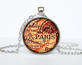 Paris map pendant, Paris map necklace, Paris map jewelry, Paris