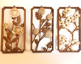 50s Floral Trio Dart Inc Shabby/Country/Cottage Home Decor