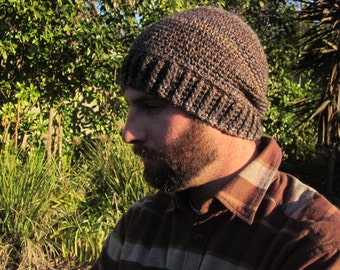 The Arthur Hat, Crochet Mens Hat, Beanie, Snowboard, Ski Hat