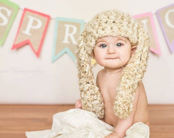 Hand Crochet Lop Eared Bunny Rabbit Hat / Easter Spring Photo Prop / Crocheted Handknit Baby Infant Newborn Hat / Custom Colors Available