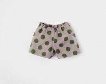 Baby Boy Linen Shorts, Green Polka Dots Baby Shorts, Newborn to 24months