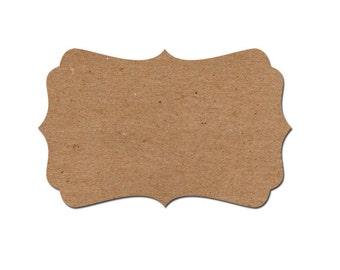 60 Blank Labels - Blank self-adhesive labels - fancy bracket die cut labels