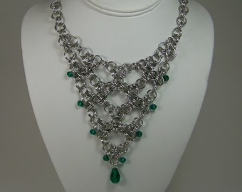 Chainmaille Japanese Weave with Emerald Green Crystals Necklace
