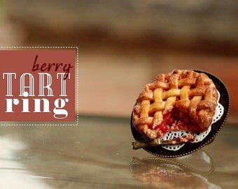 Berry Tart ring / Cherries tart ring / Dollhouse Miniature / Polymer Clay Food / Food Jewelry