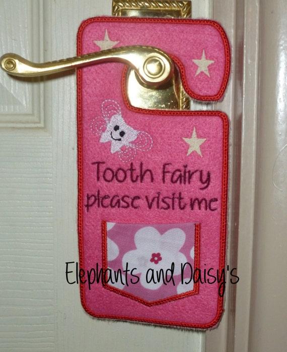 Tooth fairy door hanger embroidery design file for Tooth fairy door
