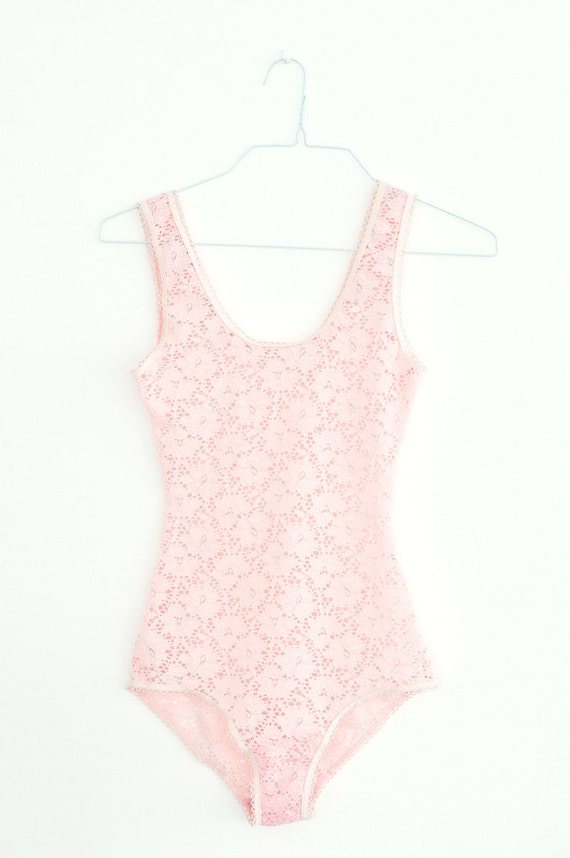 Items similar to Pink lace bodysuit sheer lace leotard ...