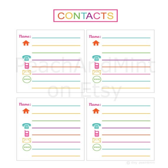 Items similar to Printable Contacts List printable address book – Contact Book Template