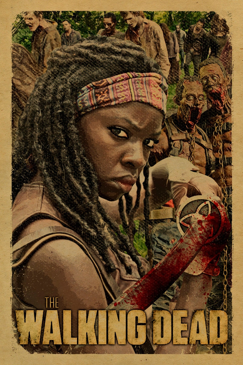 the walking dead poster featuring michonne her by. Black Bedroom Furniture Sets. Home Design Ideas