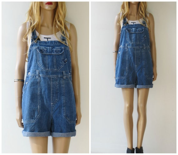 90's DENIM OVERALLS Jumpsuit SHORTS Oversized Jeans medium large
