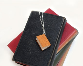 Unique Book Necklace - Handcrafted Miniature Flecked Yellow with Ochre Yellow Leather Literature - Ex Libris Limited Edition