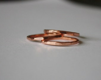 Copper Stacking Ring, Hammered Copper Stackable Ring, Thin Copper Ring