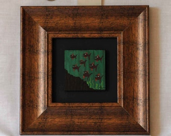 "Original Acrylic Miniature Painting "" Eight Fishies"" #9"