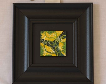 "Original Acrylic Miniature Painting ""Green/Yellow Abstract"" #34"
