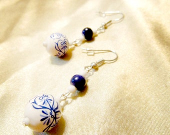 Blue and White Ceramic Dangle Earrings with Flower Design