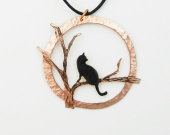 Halloween cat necklace, copper cat pendant, black cat necklace, copper cat necklace, feline jewelry, cat jewelry, the cat's meow