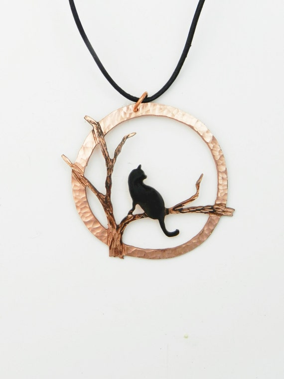 Halloween cat necklace, Halloween jewelry, copper cat, cat pendant, black cat necklace, cat necklace, feline jewelry, cat jewelry, pussycat