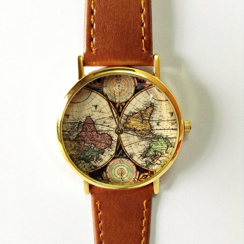 world map vintage style leather by freeforme