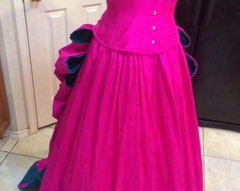 Parisian Promenade Silk Bustle Corset Gown Custom Sized Many Color Combos