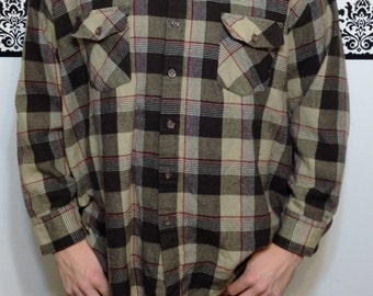 1960's Brown Toned Plaid Wool Hipster Flannel by Sears, 2XL Vintage Hipster, 50's / 60's Retro, Vintage 1960's Gruge Flannel in Browns