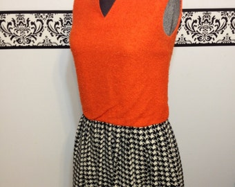 1960's Orange Wool and Pleated Hounds tooth Mod Dress, Unique Mod 1960's 1970's Hipster Look