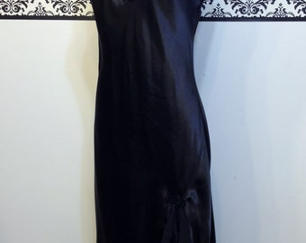 1980's Jet Black Beaded Pin Up Lingerie by California Dynasty, Size Small, Vintage Bombshell Nightgown,  Chiffon & Beads Full Length Teddy