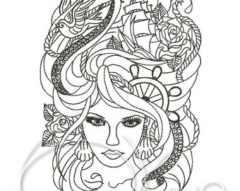 MACHINE EMBROIDERY FILE - Sea woman