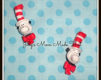 Set of 2 Dr Seuss Cat in the Hat Head Resins