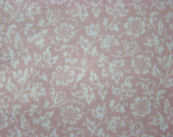 Vintage Light Pink Background and White Floral Design Home Decorator Fabric by the Piece- 84 inches x 54 inches