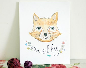 Custom Pet Portrait - Personalized Watercolor Illustration - Original Custom Pet Illustration - Portrait from Photo