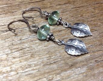 Upstream - Handmade Sterling Silver, Fluorite, and Sterling Leaf Earrings