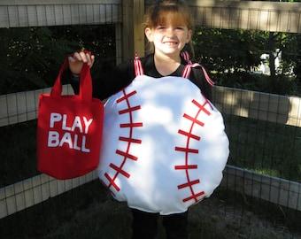 halloween costume handmade fun baseball ball w trick or treat bag - Baseball Halloween Costume For Girls