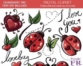 LOVEBUG - Digital Clipart, Clip art. 15 images, 300 dpi. jpeg, png files. Instant download.