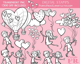 LOVE is in the AIR - Digital Stamp Set, Brushes. 20 images, 300 dpi. jpeg, png, abr files. Instant download.