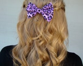 Fabric Hair Bow - Purple Leopard Print Hair Bow Clip