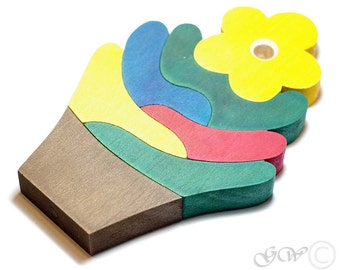 Wooden Puzzle Flower, Wooden toys. M221