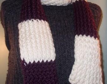 Purple and White Winter Scarf, Winter Accessory, Womans Knit Scarf, Thick Winter Scarf, Knit Scarf, Thick Knit Winter Scarf - Ready to Ship